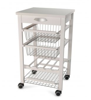 Kitchen trolley in white wood